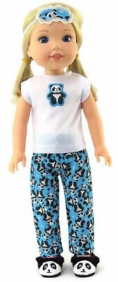 "Panda Pajamas & Eye Mask fits 14.5"" American Girl Wellie Wishers Doll Clothes"