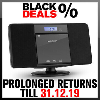 Bluetooth Stereo System Speakers CD Player Hi Fi Portable Radio USB Audio Black