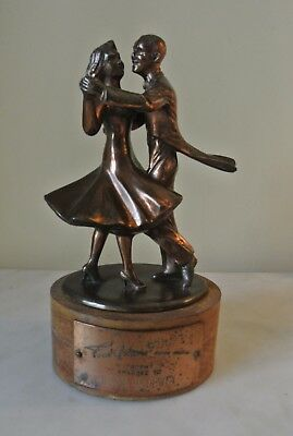 Vtg 40's Fred Astaire Ballroom Dance Trophey Couple Swinging  Copper Wood