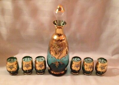 Vintage Antique Bohemian Italian Style Teal Blue Decanter 6 Glasses