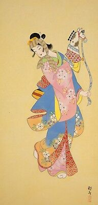 "JAPANESE HANGING SCROLL ""Dancing Beauty with Horse Toy""  @f728"