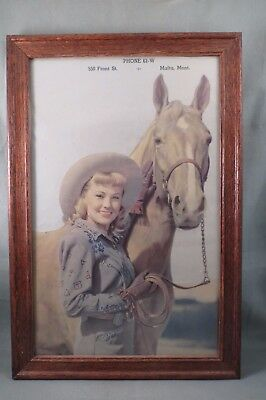 Antique,Malta Montana Advertising,550 Front St.,Beautiful Cowgirl & Horse,Framed