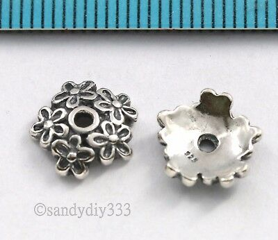 2x BALI OXIDIZED STERLING SILVER FLOWER BEAD CAP 10mm SPACER BEAD #2815