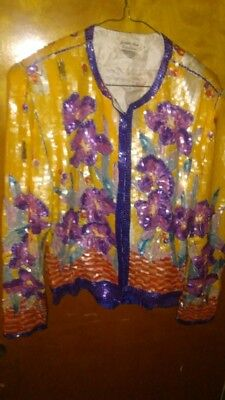 Women's 1970s Original Sequin Judith Ann Creations Suit. 100% Silk Lining