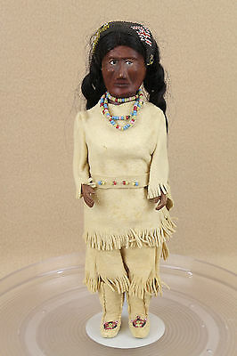 "11"" Vintage Wooden Indian Doll Figure with Original Outfit & Beads Hand Carved"