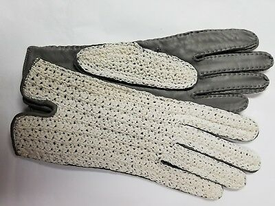 Vintage Driving Gloves Gray Leather With Ivory Crocheted Notched Wrist Sz Med