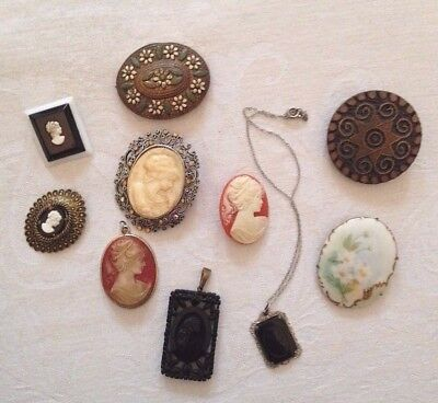 Vintage lot of 10 Victorian Cameo style Pins Brooches Necklace shoe dress clip