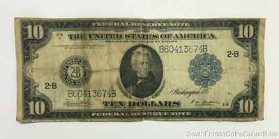 1914 $10 Dollar New York Federal Reserve Large Size Note Fine Plus B60413674B