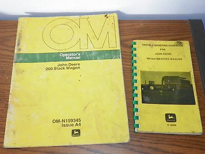 John Deere 200 Stack Wagon Operator's Manual OM-N159345 & Trouble Shooting Book