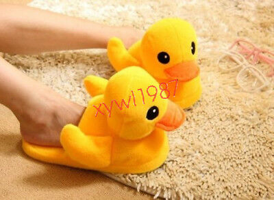 1 Pair Yellow Duck Plush Cotton Slippers Household Shoes Christmas Gifts Cosplay