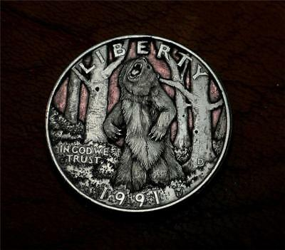 "Hobo Nickel ""Stand Your Ground""  Grizzly Bear Quarter Coin Howard Thomas"