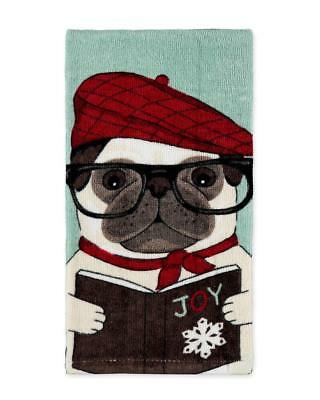 Pug Dog Wearing Glasses & a Hat Holiday Christmas Kitchen or Bathroom Hand Towel