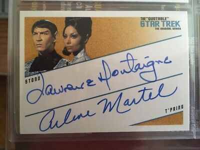 QUOTABLE STAR TREK TOS Dual AUTO CARD DQA2 Lawrence Montaigne Arlene Martel