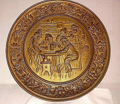 Vintage Large Brass Embossed Wall Plate Detail Is A Tavern  Made In Holland 15""