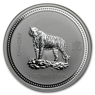 2007/2010 $1 Australian Lunar Year Of The Tiger 1 Oz Silver Series 1