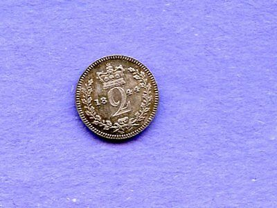 1844 Silver Great Britain Crown Queen Victoria Young Head Coin Gem Unc Toning