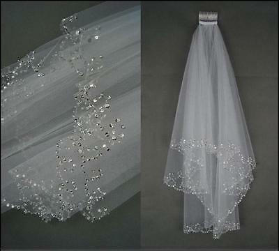 New 2T White/Ivory Elbow Beaded Edge Pearl Sequins Wedding Bridal Veil With Comb