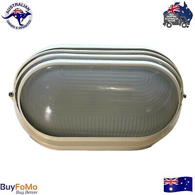 LED compatible wall mounted bunker light - louvered eyelid Cream