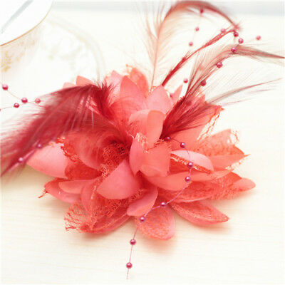 Red Flower Feather Bead Corsage Hair Clips Fascinator Hairband Pin brooch