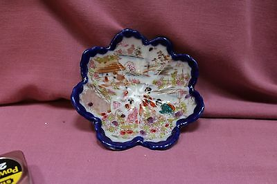 Vintage  Flower Shaped Porcelain Hand Painted Oriental Bowl China Beautiful