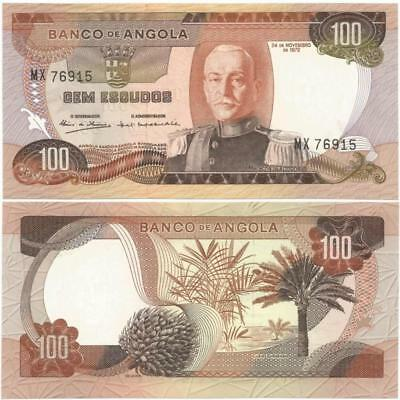 1972 PORTUGUESE Colonial ANGOLA Choice, Crisp CEM or 100 ESCUDOS Note NEVER USED