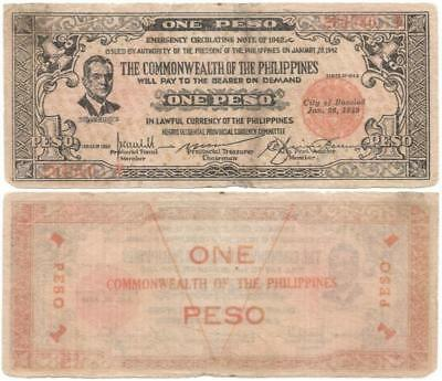 1942 NEGROS OCCIDENTAL Province ONE PESO Philippine INSURGENT Issue WORLD WAR II