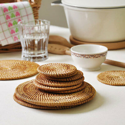 Cute Rattan Tea Coasters Drinking Coasters Home  Environmental Protection Rattan