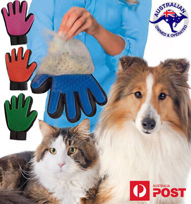 Pet Brush Glove Dog Cat Hair Grooming Removal Cleaning True Touch Magic Massage