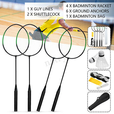 4 Players Badminton Set,4 Racquets, 2 Shuttlecocks,Net,Bag,Guy Line,6 Anchors AU