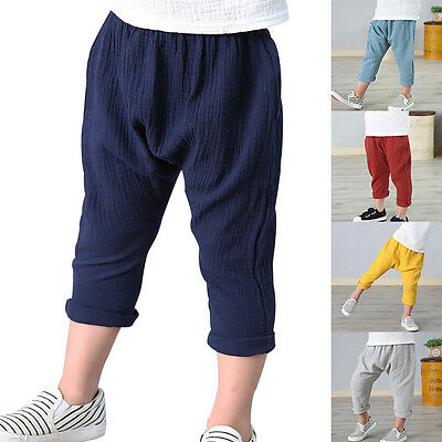 Fashion Kid Boy Casual Trousers Linen Pleated Pants Ankle Length Trouser