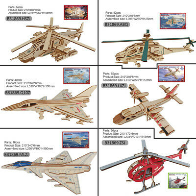 3D Puzzle Assembly Kit Wood Construction Airplane Fighter Toy Kid Christmas Gift