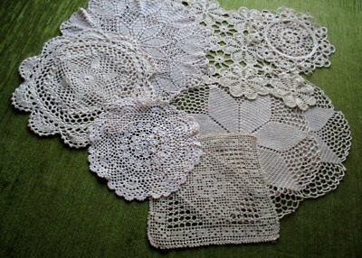 HAND CROCHET MATS - COLLECTION of 8 - SOFT ECRU