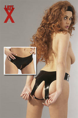 Slip In LateX Nero Con Apertura