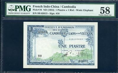 **nd(1954) French Indo-China /cambodia 1 Piastre  Pmg 58 Pick#94  Please Lqqk!!*