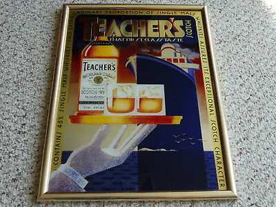 Teacher's Scotch glass bar sign collectible rare