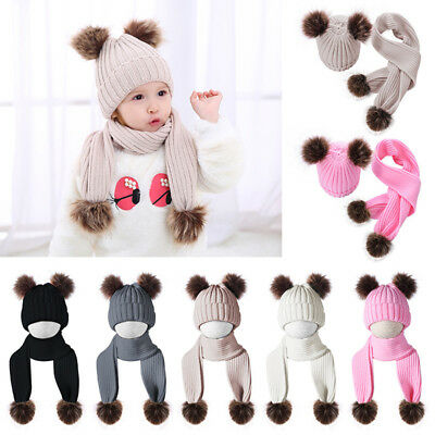 Newborn Baby Boys Girls Fur Pom Hat Winter Warm Knitted Beanie Cap Scarves Set