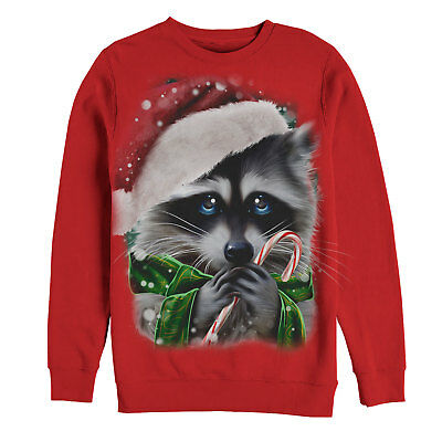 Lost Gods Ugly Christmas Sweater Raccoon Candy Cane Womens Graphic Sweatshirt