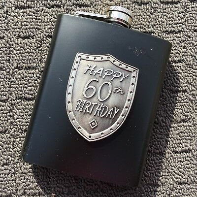 """HAPPY 60th BIRTHDAY """"Black"""" Stainless Steel 6oz Drink Hip Flask **NEW**"""
