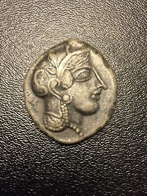 Ancient BC Greece Owl Coin Silver God Athena in Athens/ Greek Tetradrachm Attica