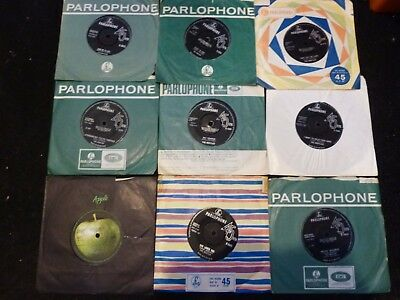 "A COLLECTION / JOB LOT OF 9 X 7"" SINGLES - THE BEATLES - ORIG UK 45s SEE PHOTO'S"