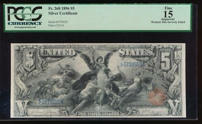 AC Fr 268 1896 $5 Silver Certificate PCGS 15 apparent... Educational!!!