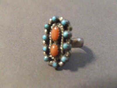 Vintage Sterling Silver Turquoise Coral Ring Sz  7 (K7)