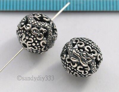 1x BALI STERLING SILVER FLOWER DRAGON FOCAL ROUND SPACER BEAD 12mm #2816