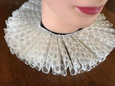 Shakespeare, Elizabethan, Fancy Dress, Tudor Ruff In Cream Lace