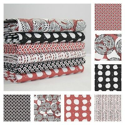 LE POINT MODERN TERRACOTTA & BLACK DESIGN COLLECTION 100% COTTON FABRIC dots