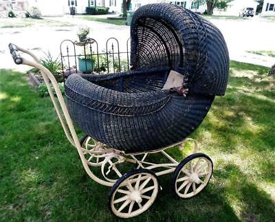 Antique Wicker Baby Buggy Early 1900's Excellent Condition Great Photo Prop !