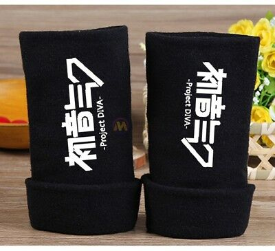 Anime Vocaloid Miku Hatsune Cosplay Cotton Knitted Gloves Fingerless Mittens