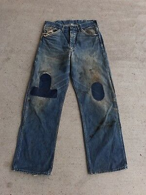 Vtg 40S 50S Denim Work Pants Jeans Distressed Repaired Sz 34 Workwear Dungaree