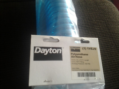 dayton 1VEJ9 Coiled Air Hose, 1/4 In ID x 15 Ft, Poly