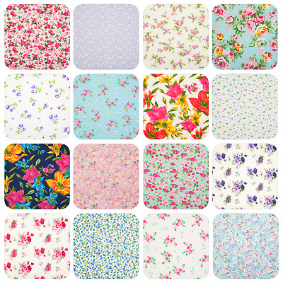 VINTAGE FLORAL FABRIC Pink Blue Red White Roses POLYCOTTON MATERIAL Half Metre
